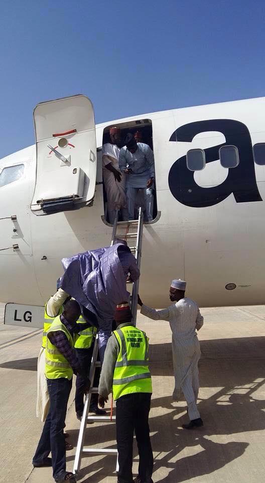 Passengers board via a ladder at Bauchi Airport