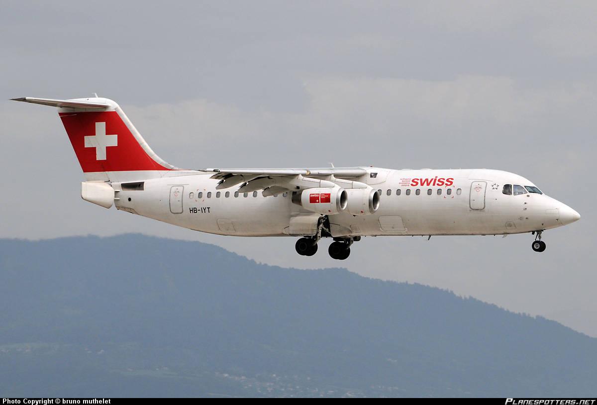 Swiss International Air Lines RJ100 has sparking engine