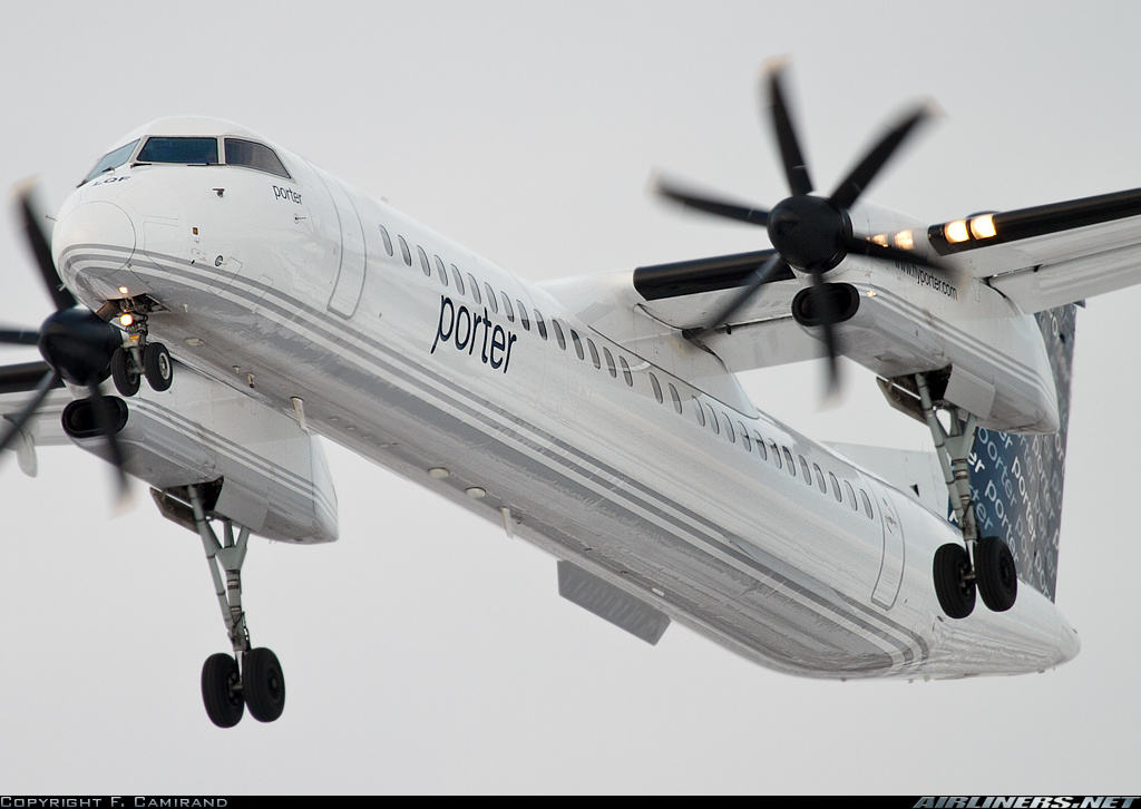 DHC-8-402Q of Porter Airlines encouters heavy turbulence upon landing at Toronto City