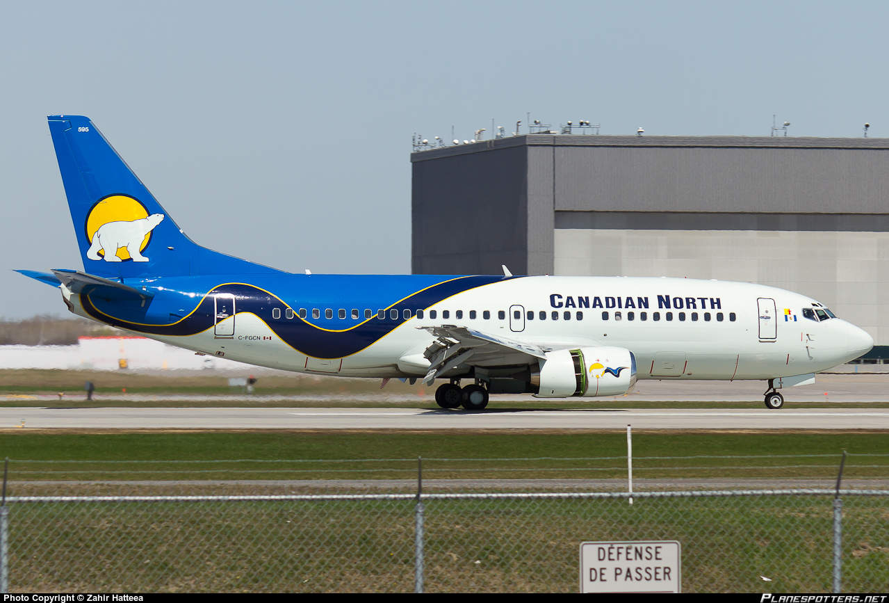 Canadian North Boeing 737-36N hits birds during flare