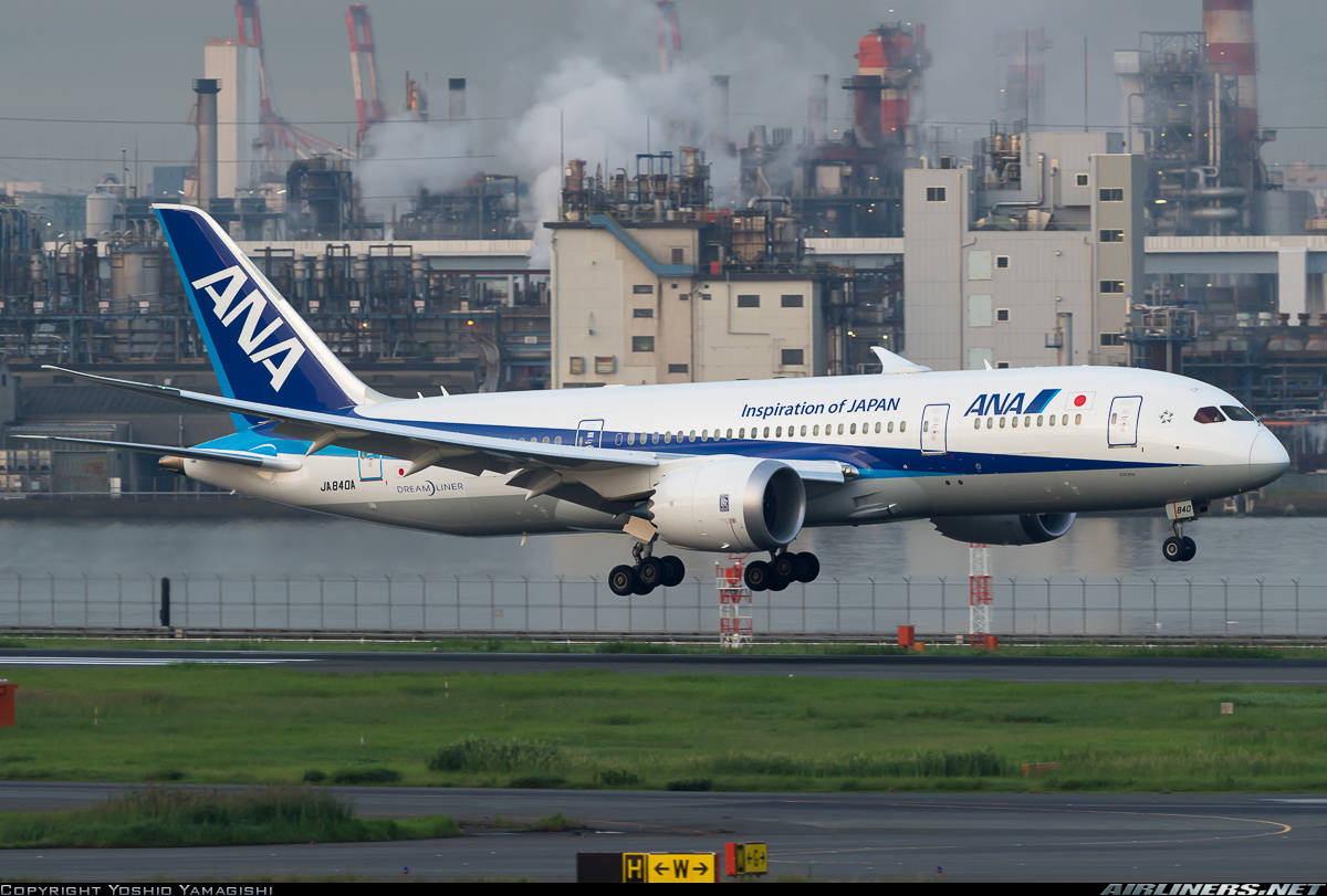 ANA All Nippon Airways Boeing 787-8 Dreamliner rejects take-off because of engine faillure