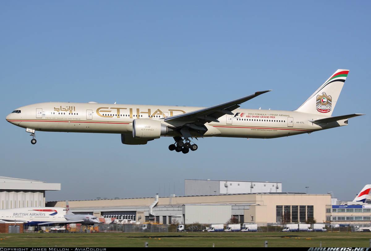 Boeing 777-3FX(ER) of Etihad has engine failure