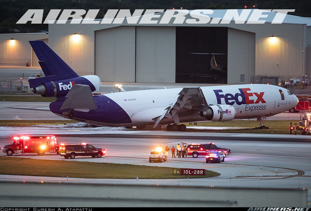 MD-10-10F of FedEx catches fire at Fort Lauderdale after landing gear collapse